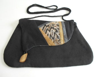 Small Quilted Handbag Purse Black Raw Silk Needle Felted Shibori Silk on Wool Accent