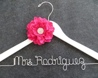 Hot Pink Wedding Hanger, Fuchsia Flower Wedding Dress Hanger, Personalized Bridal Hanger, Wire Hanger, Bride Hanger, Shower Gift, Mrs Hanger