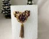 Brooch, Pin , Coro Brooch, Purple And Gold Brooch, Vintage Coro Brooch