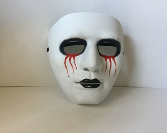 Mask, Halloween Mask, Blood Red Mask, Bloody Eyes Mask, Hand Painted Mask, Eerie Mask, Halloween Creepy Mask