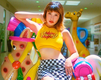 Candy Flip - 90s Style Comic Book Hipster Festival Grunge Club Kid Raver Kaboom Mustard Yellow Textured Dots Sequin Halter Top S