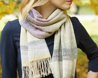 hand woven wrap merino wool scarf for her Noro yarn rustic