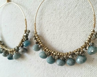 Nola . Azurite, Pyrite, Brass and Sterling Silver Hoop Earrings