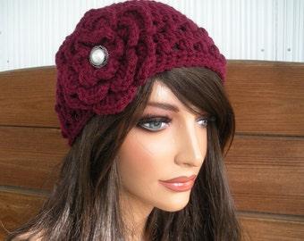 Womens Hat Crochet Hat Winter Fashion Accessories Women Beanie Hat Cloche in Claret/Burgundy with Crochet Flower - Choose color