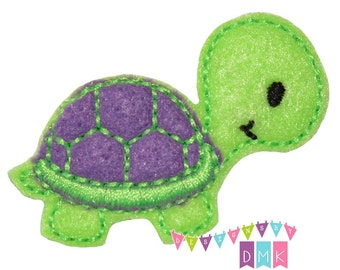 Lime Green & Purple Baby Turtle Felt Embroidered Embellishment Clippie Cover SET of 4