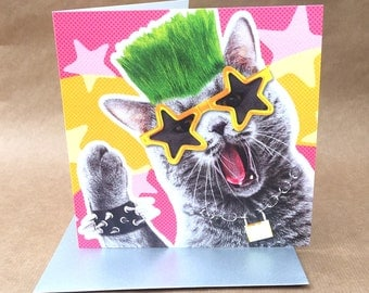 Rock and roll punk kitty BIRTHDAY or GREETINGS card