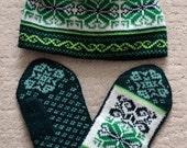 Wool Mittens and Hat set, Norwegian Scandinavian folk art, hand crafted, 100% Wool, Snowflake Fair Isle  Fur Pompom