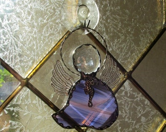 Grape Wispy Stained Glass Angel Ornament/Suncatcher with Tibetan Silver Seahorse Charm