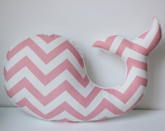 Modern baby nursery girls WHALE pillow, pink white, nautical beach plush stuffed shower gift present