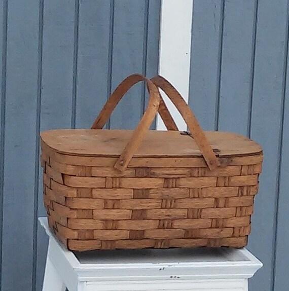 Wooden Picnic Basket Set : Vintage wooden picnic basket
