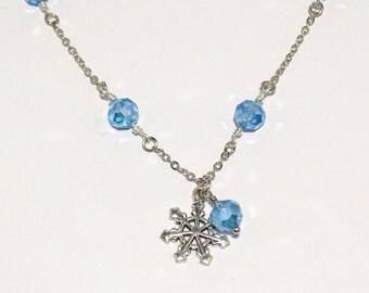 Beaded Snowflake Necklace Topaz Crystal Jewelry Mom Girlfriend Sister Women's Gift