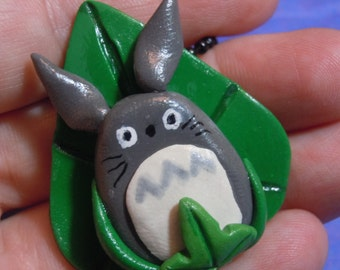 Totoro Necklace, Totoro on Leaf Necklace, Polymer Clay Pendant, Studio Ghibli