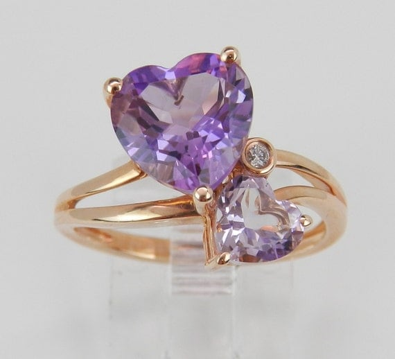 "Double Heart Amethyst ""Rose De France"" and Diamond Engagement Ring Promise 14K Rose Gold Size 7.25"