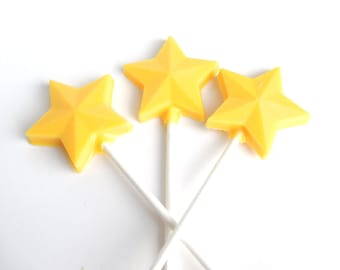 12 Chocolate Star Lollipops, star shaped favors, magic wand lollipop, star baby shower, twinkle shower favors, twinkle twinkle little star
