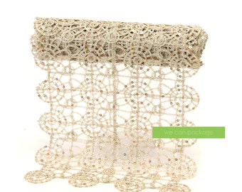 "Champagne Lace Table Runner | Sparkle Sequin Wedding Runner  | 15"" x 108"""