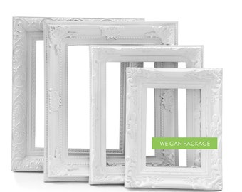 White Picture Frames - Set of 4 - Wedding Frames & Shabby Chic Frames - Vintage Look!