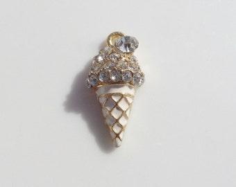 Rhinestone Ice Cream Cone Pendant, 2CT (Y41)