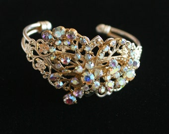 Bridal Bracelet, Made with Vintage Jewelry, Wedding Jewelry, Cuff Bracelet, Vintage Bracelet, Rhinestone Bracelet, Bridesmaid