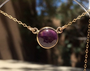Amethyst Gold Open Bezel Necklace