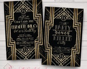 Birthday Invitations: Gatsby, Roaring 20s, Gold, White, & Black. Samples, Digital Files, or Printed Orders. See Listing/Item Details