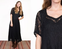 Vintage 90's Black Lace Sheer India Maxi Dress