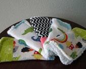 Baby Wash Cloths - Baby Boy Washcloth Set - Noah's Ark - Alligator - Blue - Green - Baby Gift under 20