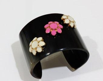 Flower Bracelet, Cuff Bracelet , Snakeprint Bracelet, Pink Bracelet, Green Bracelet
