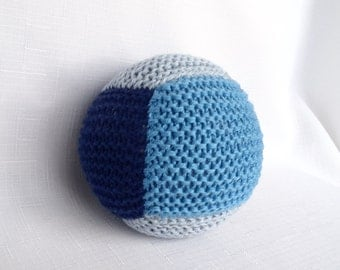 Cotton Baby Ball Rattle - Navy and Blue