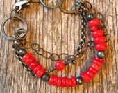 Multi Strand Red Coral - Hand Forged Chain Links - Oxidized Sterling Rolo Chain - Rustic Artisan Sundance Style Jewelry