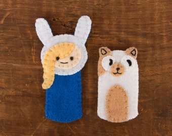 Adventure Time Fiona and Cake Handsewn Felt Finger Puppet Set