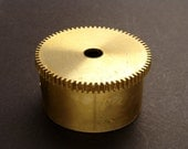 Large Brass Cylinder Gear, Mainspring Barrel from Vintage Clock Movement, Vintage Clockwork Mechanism Parts, Steampunk Art Supplies 03881