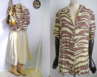 Vintage blouse Tiger print banana yellow and brown short sleeve blouse 80s 90s preppy  fashion