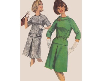 1960s A Line Skirt and Top  Simplicity Pattern 6077 Size 14 Bust 34 Inverted Pleat Skirt Raglan Sleeves Vintage Sewing Pattern