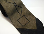 Vintage Don Loper of Beverly Hills Abstract Geometric Gold & Black Tie