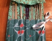 Turquoise  cotton fabric knitting needle roll or wrap