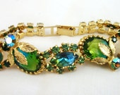 Vintage Green with Blue Rhinestone Bracelet ~ Multiple tones ~ Various Shapes ~ Gold tone ~ Costume Jewelry