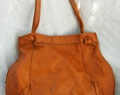 Leather Bag ~ Brown tone ~ Double Handle ~ Aged Distressed ~ Vintage Purse ~ Worn in ~ Boho Hippie Chic ~ 1970's era
