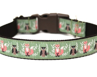 "Fall Dog Collar 1"" Owl Dog Collar Fox Dog Collar SIZE LARGE"