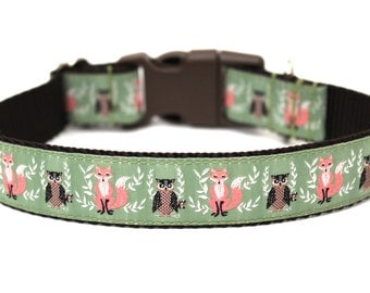 "Fall Dog Collar 1"" Owl Dog Collar Fox Dog Collar SIZE SMALL"