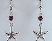 Sterling Silver & Garnet Starfish Earrings