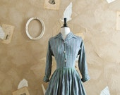 Vintage 1950s Striped Cotton Fit and Flare Dress -Mod Mama-