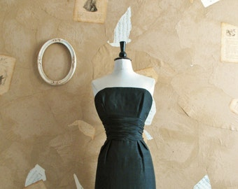 Vintage 1950s Simple and Stunning Black Silk Dress -The Viper Lounge-