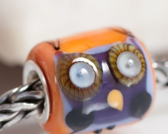Small Core Artisan Bead  Owl SRA Lampwork Beads BHB