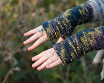 Blue Jungle Fingerless Crochet Gloves/Mittens 100% Merino Wool Festival Ready