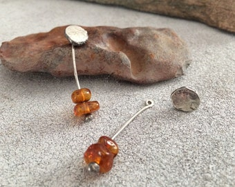 Sterling Silver Nugget Stud Earrings w/ Baltic Amber Ear Jackets - Rustic & Unique Metalwork Jewelry Gifts for Her