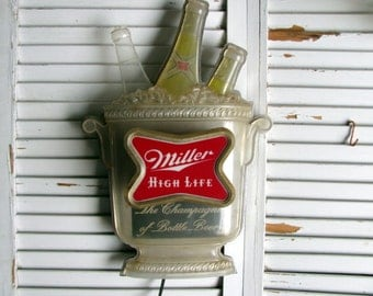 Miller High Life Beer Lighted Sign / Rare 1960's Beer Sign