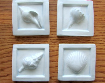 Ceramic Sea Shell Tiles -- Set of Four 2x2 Tiles in Sheer Blue Glaze, IN STOCK, scallop shell, beach decor