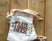 TRAIL MIX - 6 Favor Bags - 4 x 6 - Camping Campout Hiking - Wilderness Party