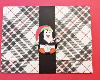 Christmas Gift Card/Money Holder, Handmade, Red, White, Black, Plaid, Penguin