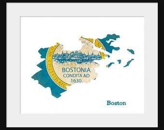 Boston Flag Map - Print Poster Map -